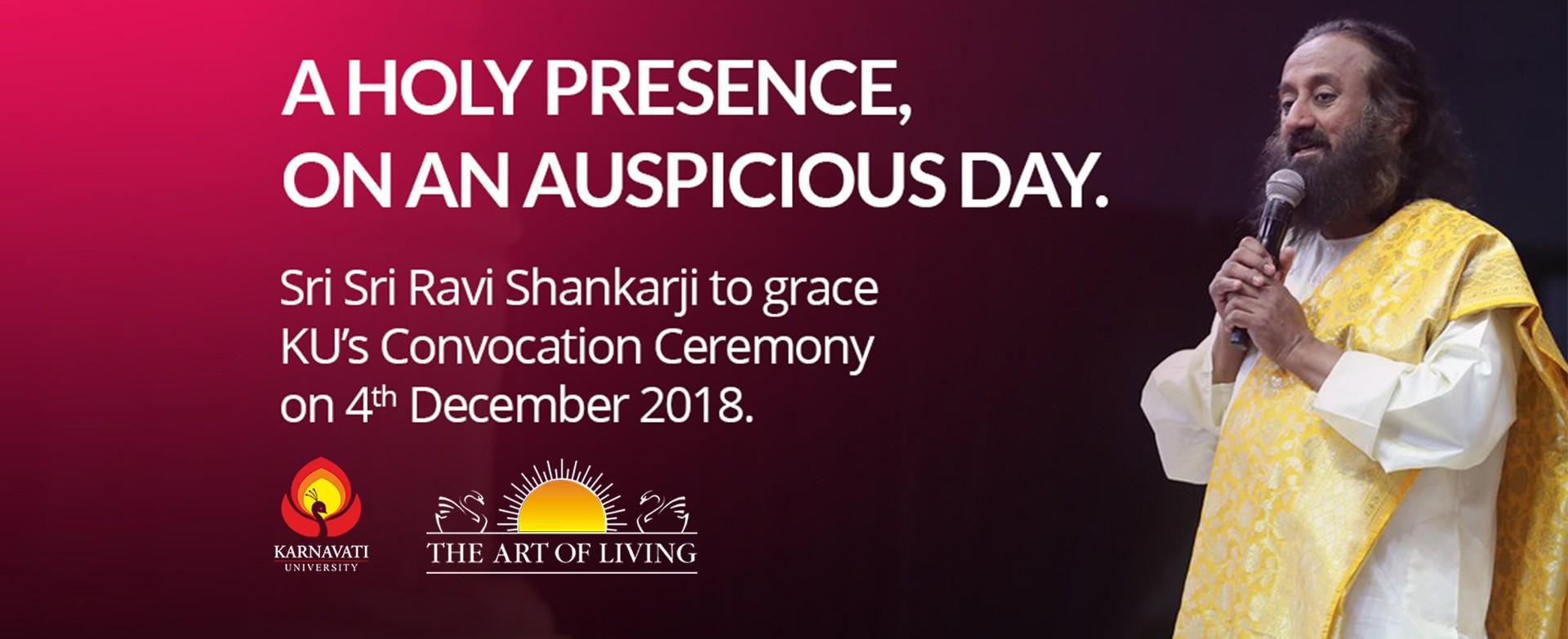 Gurudev Sri Sri Ravi Shankarji to grace Karnavati University's convocation with his presence. Image