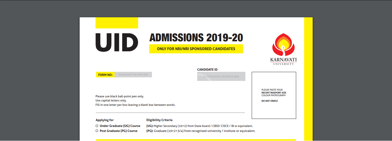 UID 'NRI/NRI-Sponsored category' Admissions 2019 Image