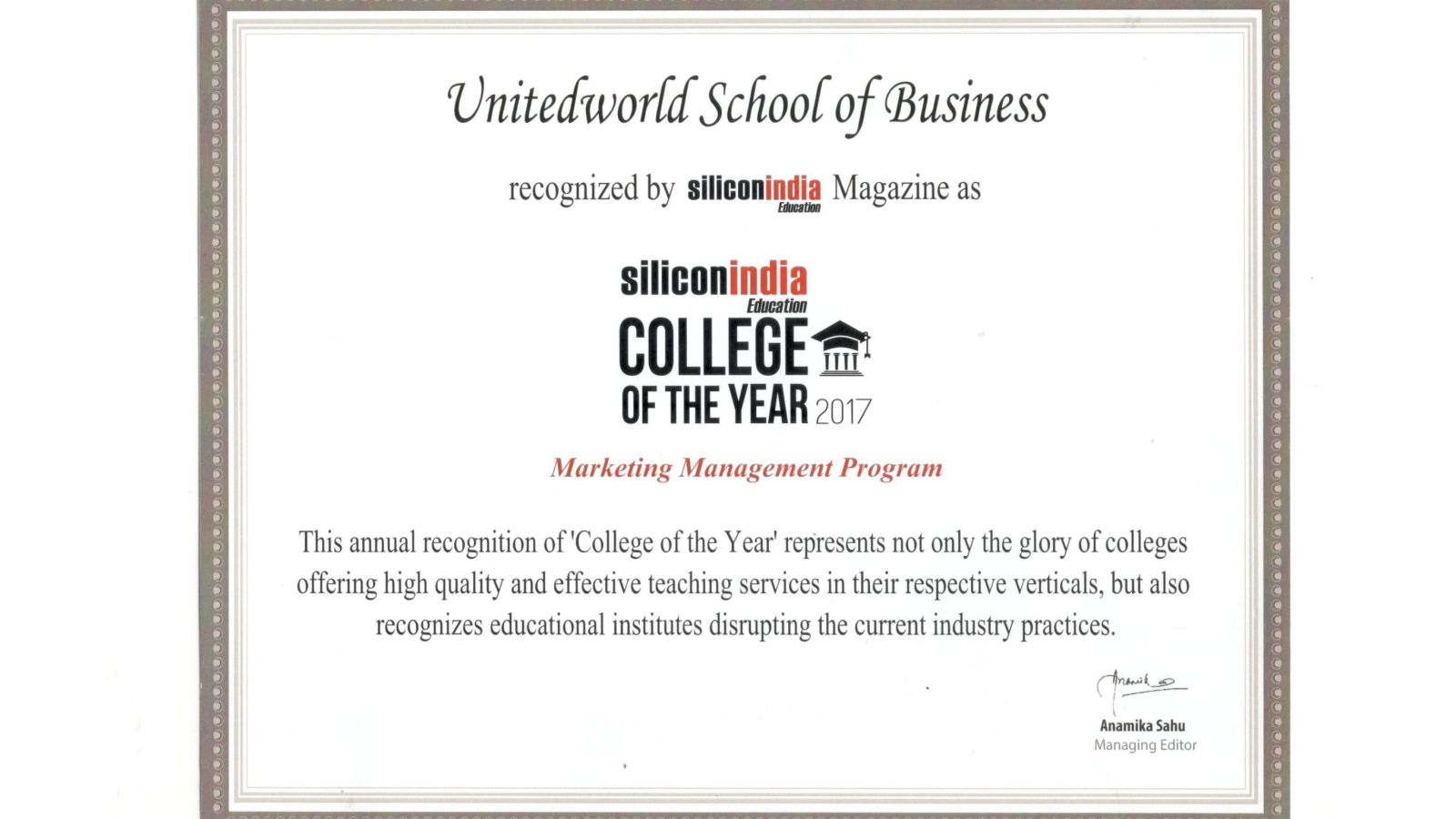 College of the year 2017 – Marketing Management Program Image