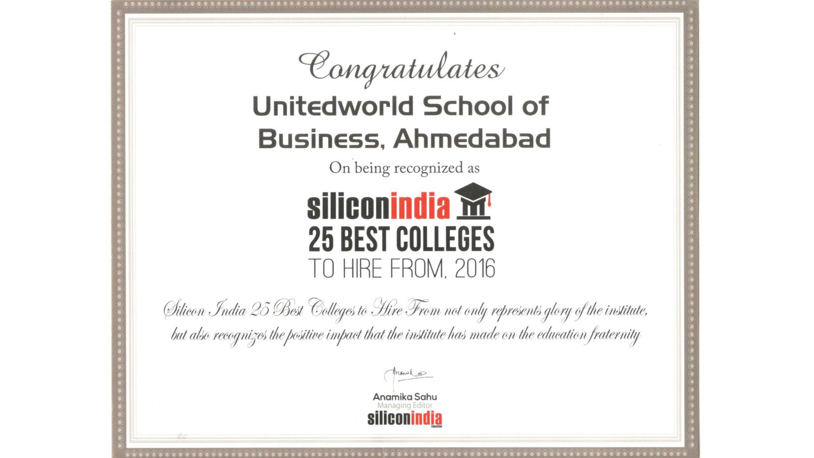 UWSB – Among 25 Best Colleges to Hire From, 2016 Image