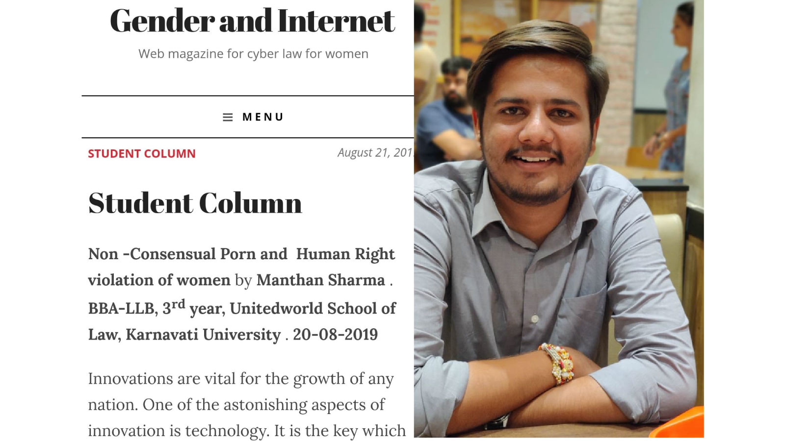 Manthan Sharma article published in web magazine Image