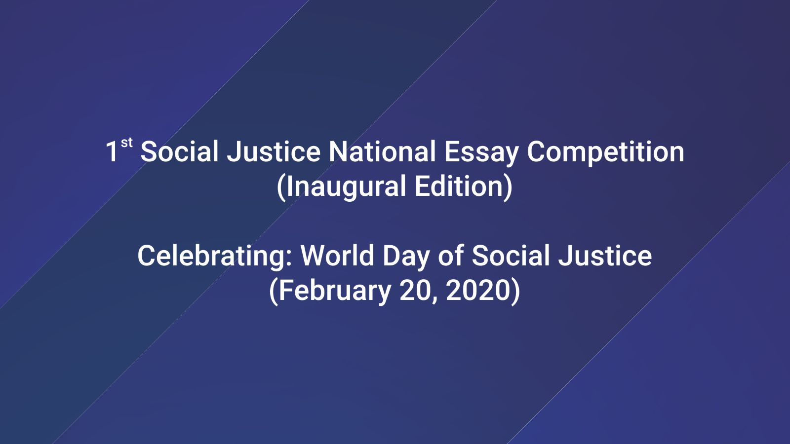 1st Social Justice National Essay Competition Image